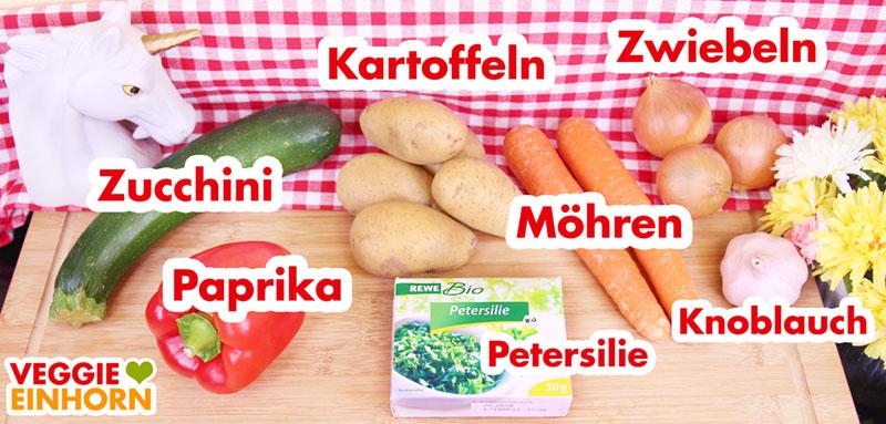 Zutaten für den veganen Eintopf mit Kartoffeln und Zucchini