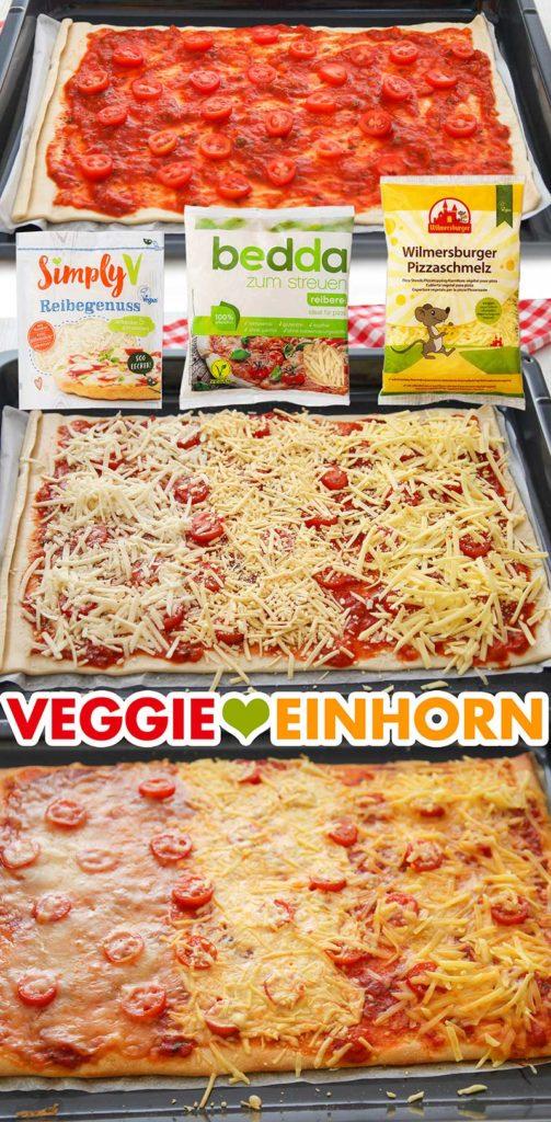Veganer Reibekäse schmilzt auf Pizza