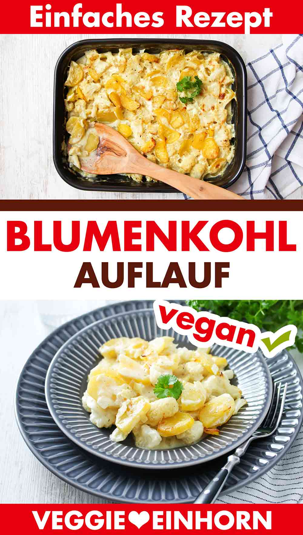 Veganer Blumenkohlauflauf mit Kartoffeln und Petersilie