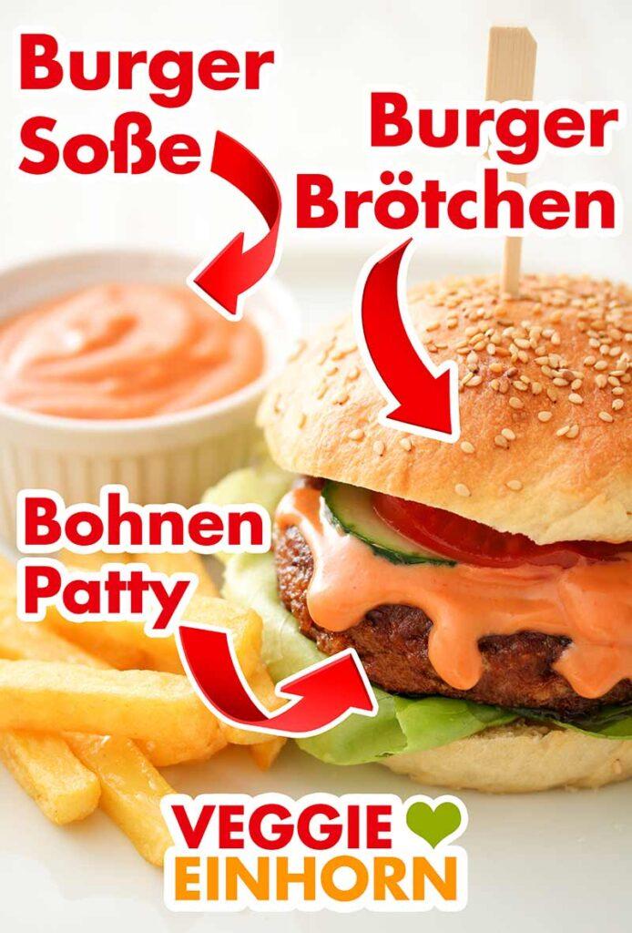 Ein Burger Brötchen mit Bohnen Patty, Pommes und Soße