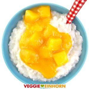 Milchreis vegan Kokosmilch Mango | Kokosmilchreis