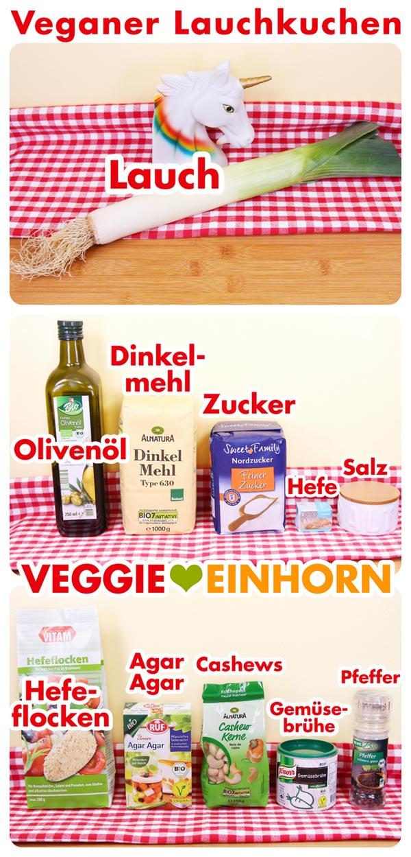 Zutaten für veganen Lauchkuchen mit Hefeteig