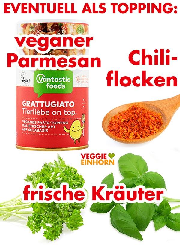 Veganer Parmesan, Chiliflocken, frische Kräuter