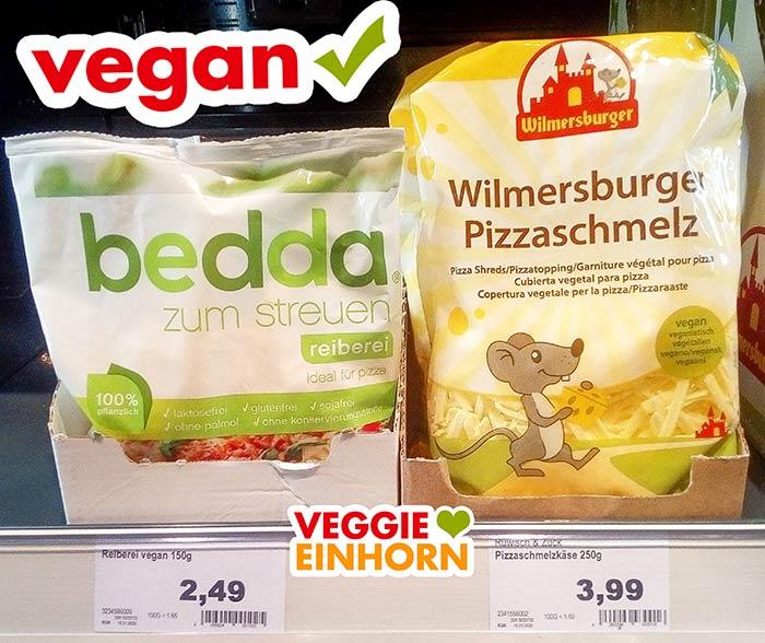 Veganer geriebener Käse von bedda und Wilmersburger im Supermarkt