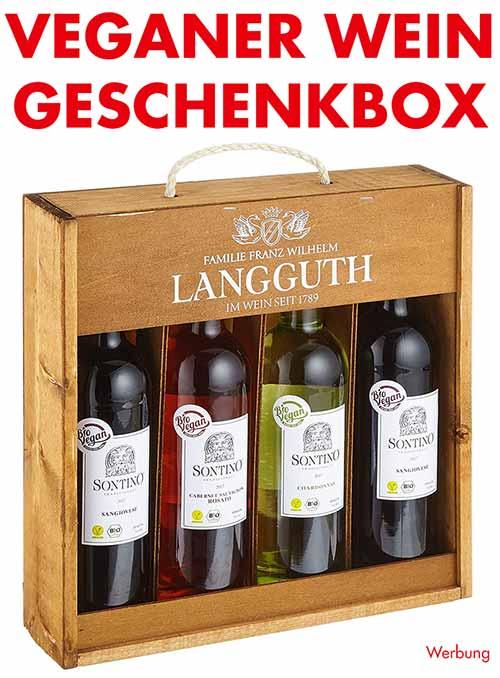 Geschenkbox mit veganem Wein