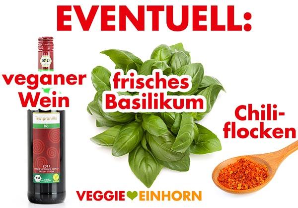 Veganer Wein, frisches Basilikum, Chiliflocken