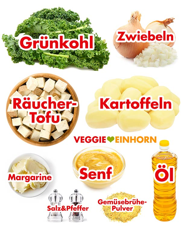 Zutaten Grünkohl, Kartoffeln, Senf, Räuchertofu