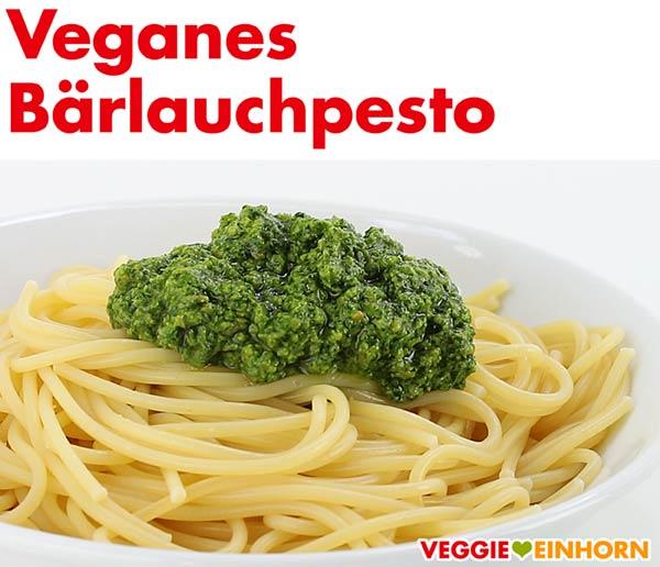 Veganes Bärlauchpesto auf einem Teller Spaghetti