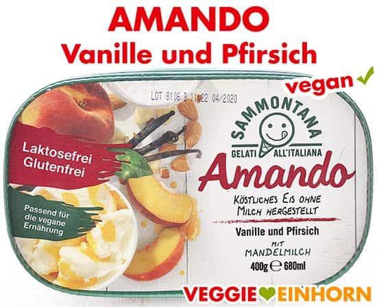Vegane Eiscreme Vanille und Pfirsich