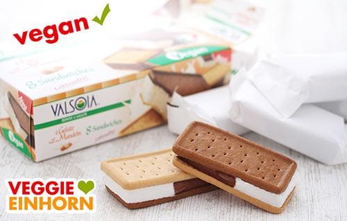 Veganes Eis Valsoia Sandwich
