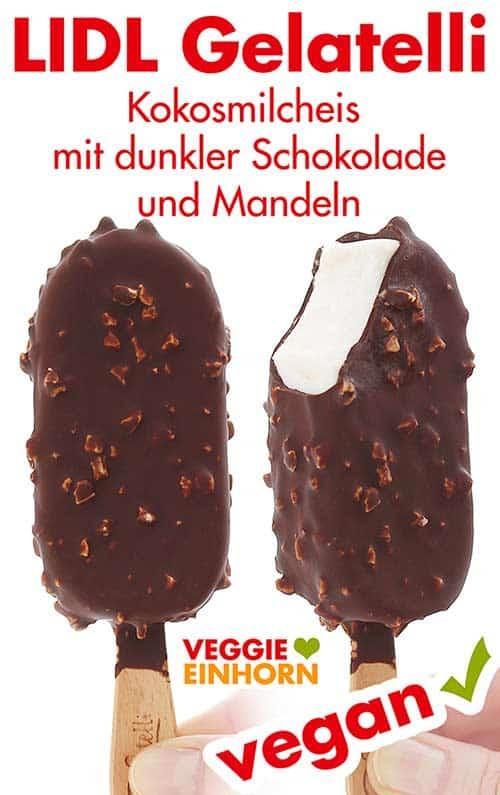 Veganes Vanilleeis am Stiel mit Schokolade und Mandeln von Lidl