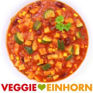 Veganes Gemüse Chili Rezept mit Süßkartoffel und Zucchini | Chili sin Carne ohne Soja