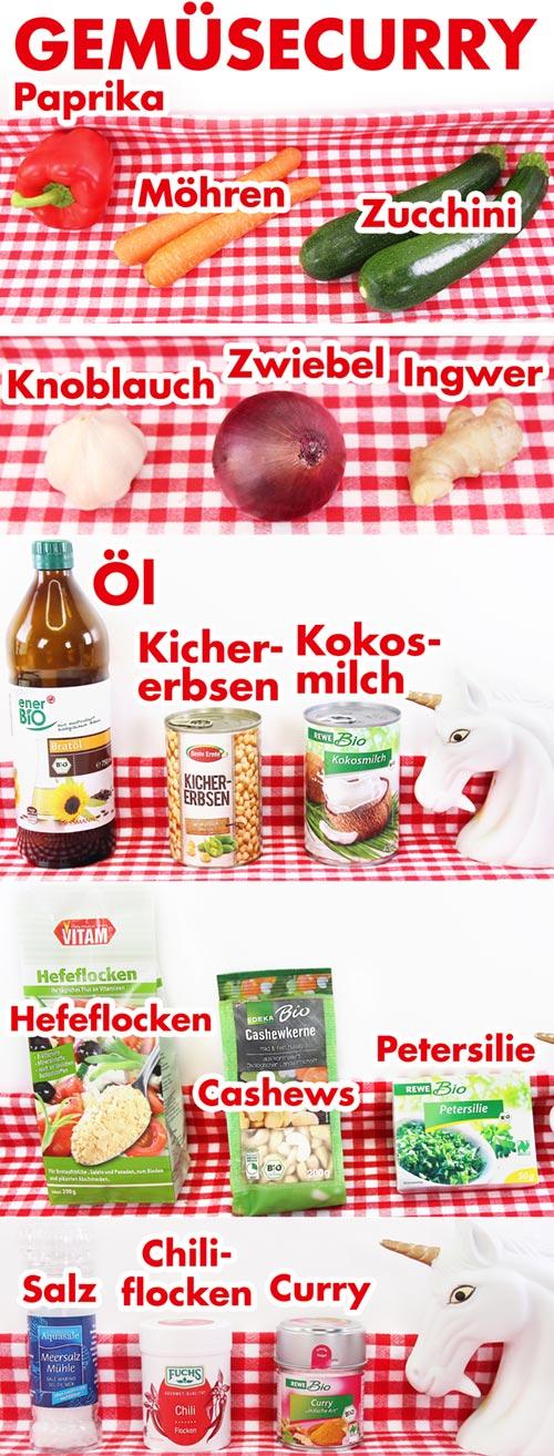 Veganes Gemüsecurry Zutaten Paprika Möhren Zucchini Kokosmilch Kichererbsen