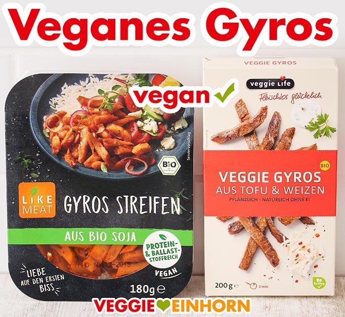 Zwei Packungen veganes Gyros von Like Meat und Veggie Life