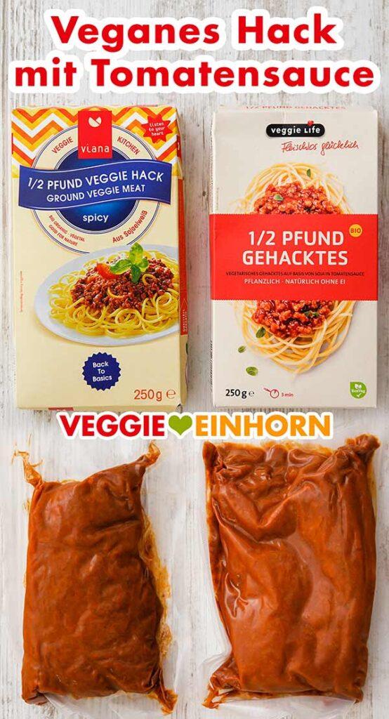 Packungen von veganem Hack mit Tomatensauce