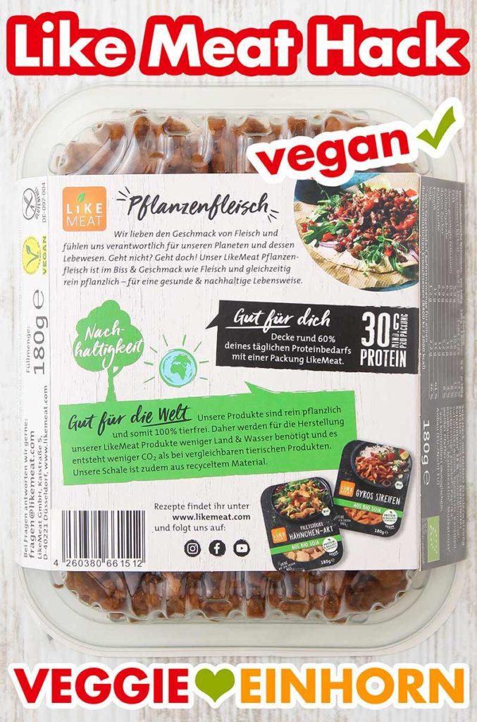 Rückseite der Verpackung von Like Meat Hackfleisch