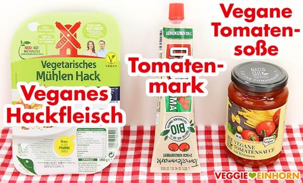 Veganes Hackfleisch, Tomatenmark, Tomatensoße