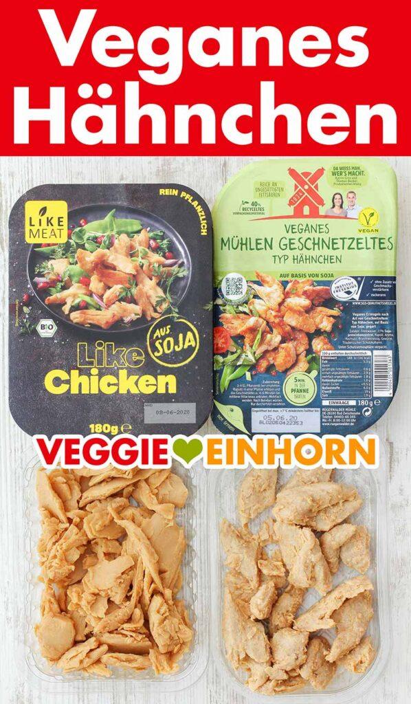 Packungen mit veganem Hähnchenfleisch