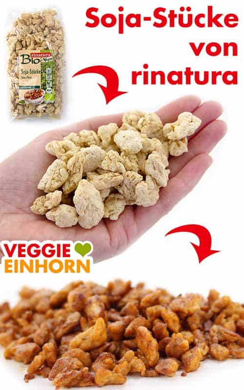 Veganes Hähnchenfleisch aus Soja-Stücken von rinatura