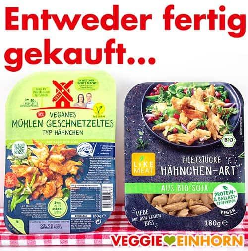 Rügenwalder Veganes Mühlen Geschnetzeltes Hähnchen und Like Meat Filetstücke Hähnchen-Art