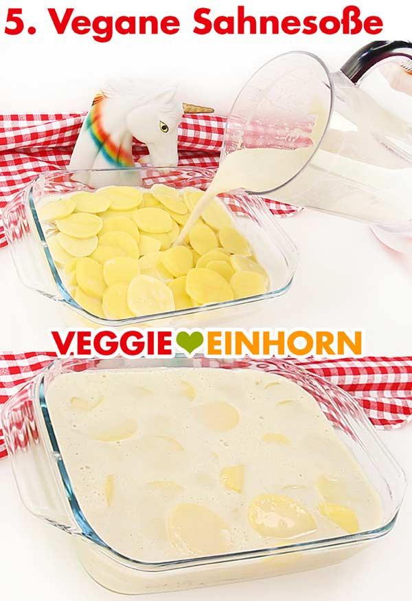 Veganes Kartoffelgratin mit Soße aus Cashewkernen und Kokosmilch