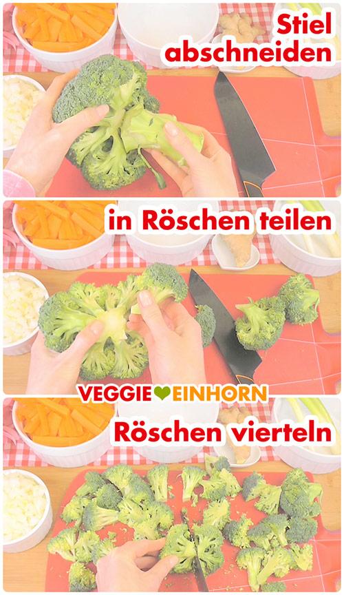 Brokkoli in Röschen teilen