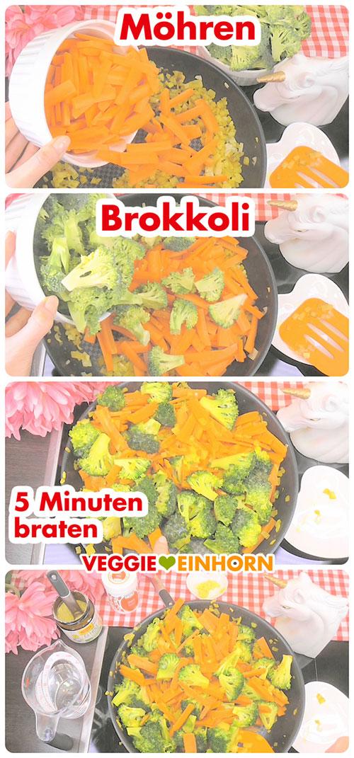 Möhren und Brokkoli braten