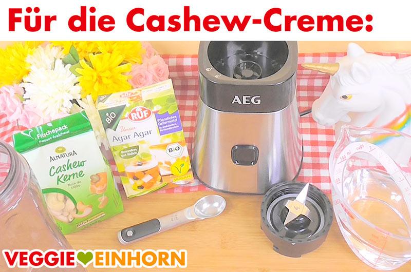Zutaten für vegane Cashewcreme - Cashews und Agar-Agar