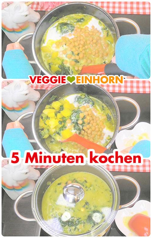 Suppe 5 Minuten köcheln lassen