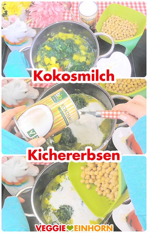 Kokosmilch und Kichererbsen zufügen