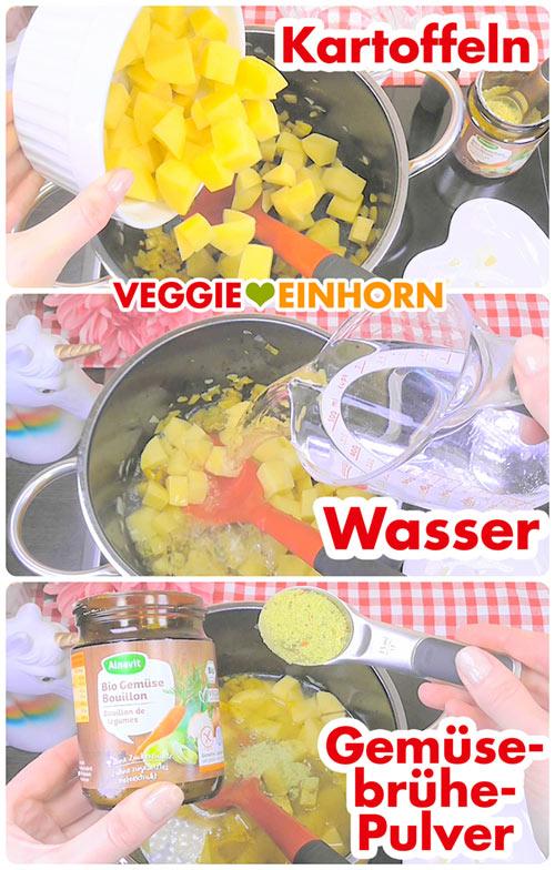 Kartoffeln und Wasser zufügen