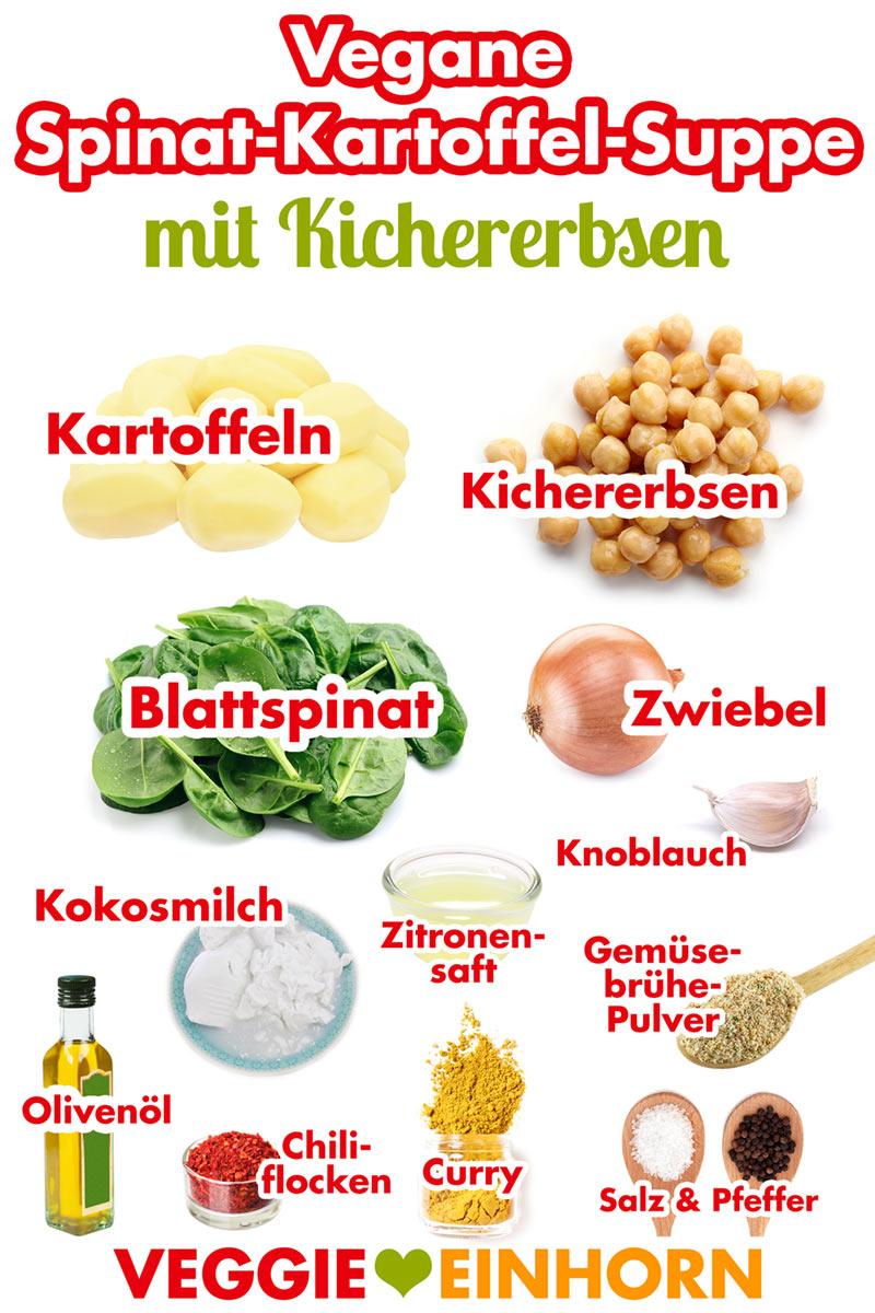 Zutaten für Spinatsuppe mit Kichererbsen