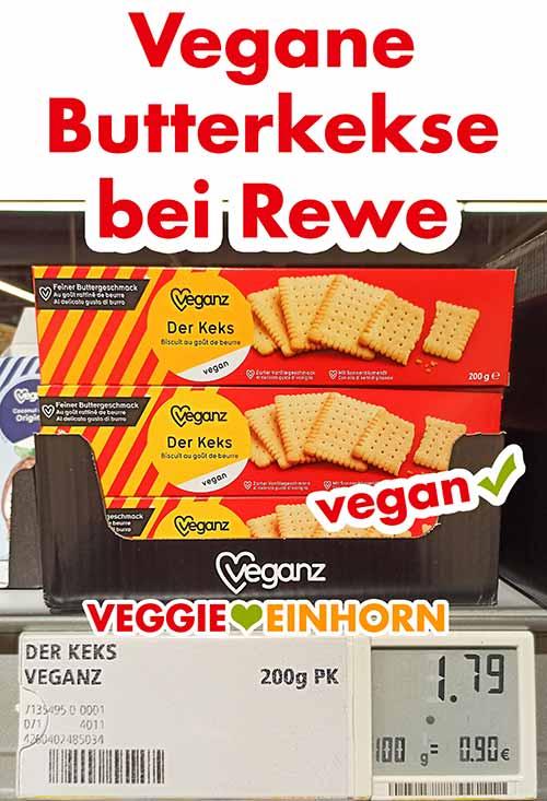 Vegane Butterkekse von Veganz im Supermarkt Regal bei Rewe