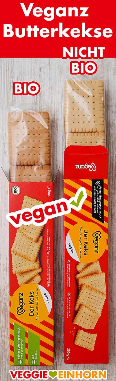Zwei Packungen vegane Butterkekse von Veganz