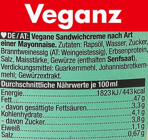 Zutaten und Nährwerte von Veganz Vegane Sandwichcreme nach Art einer Mayonnaise