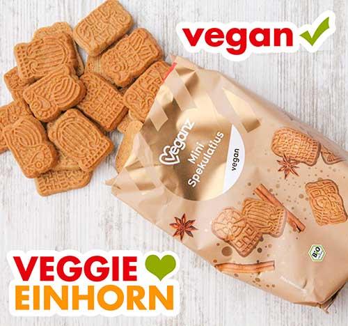 Geöffnete Tüte mit Veganz Mini Spekulatiur