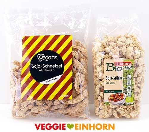 Veganz grobe Sojaschnetzel und Rinatura Bio Soja-Stücke