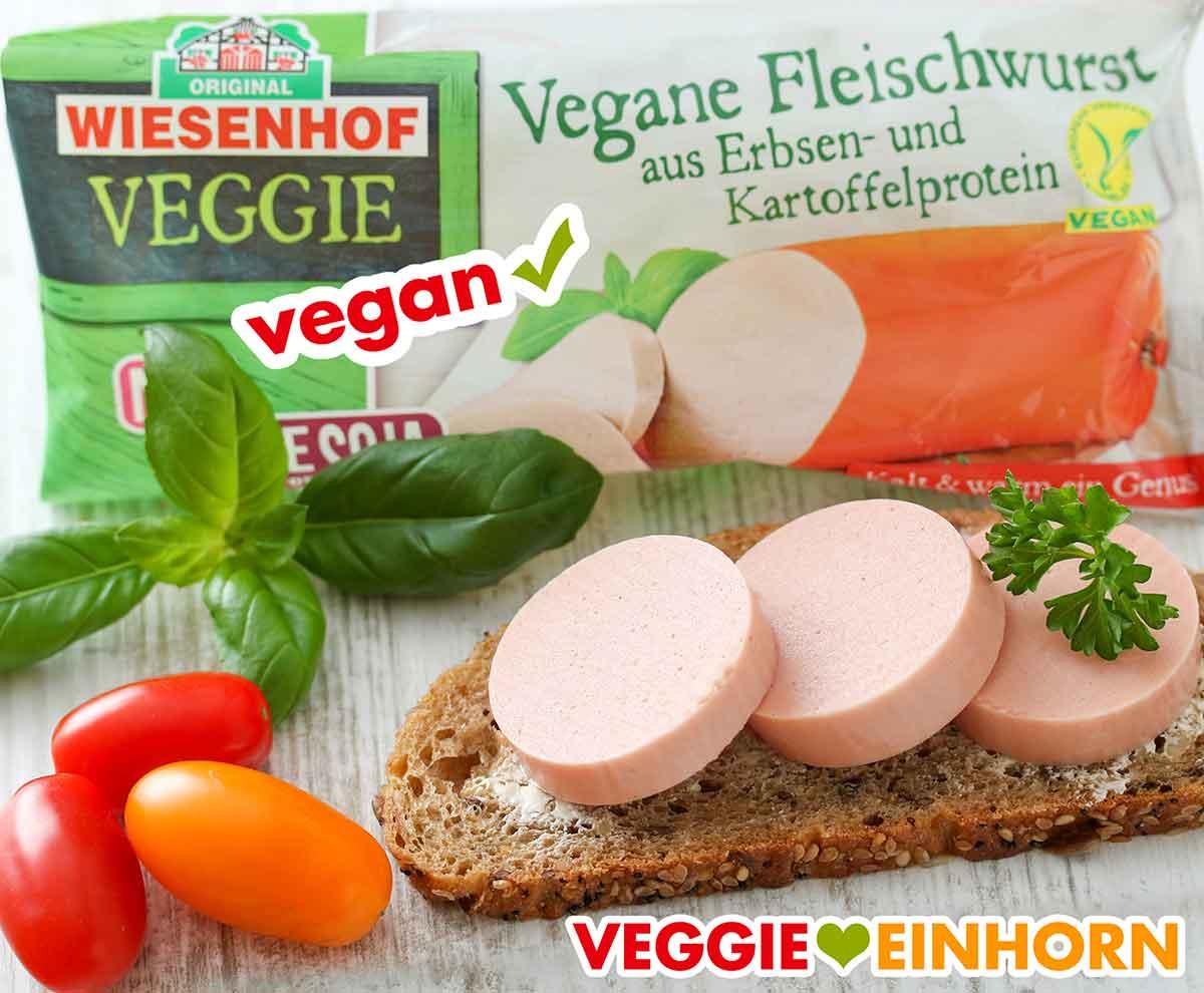 Ein Wurstbrot mit veganer Fleischwurst von Wiesenhof