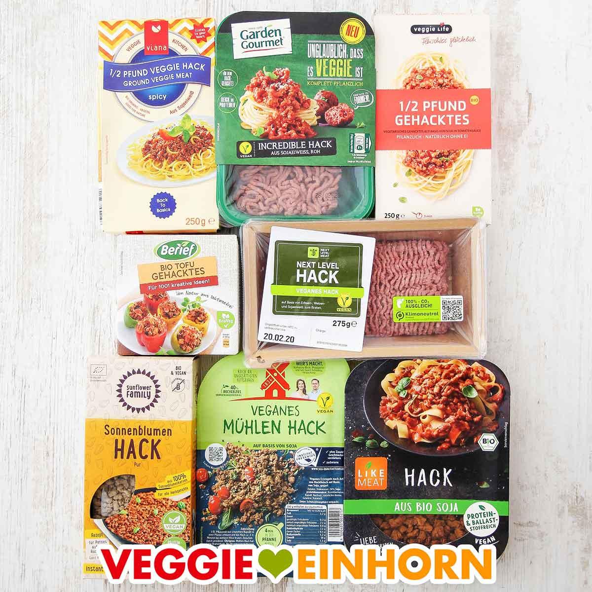 Packungen mit veganem Hackfleisch