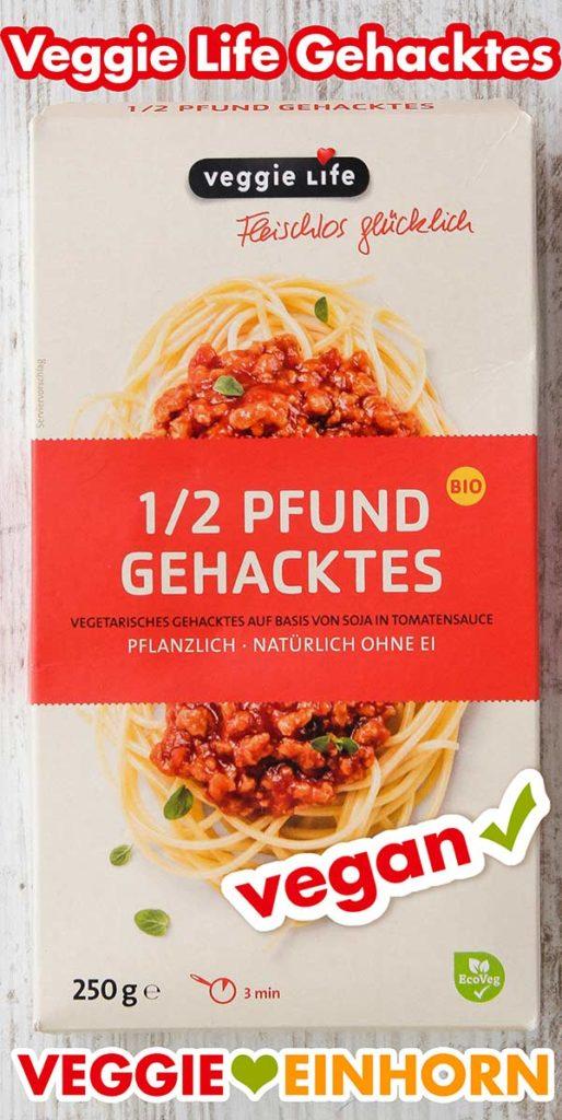 Eine Packung 1/2 Pfund Gehacktes von Veggie Life