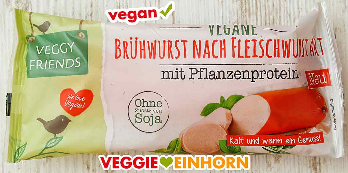 Eine Packung vegane Brühwurst nach Fleischwurst Art von Veggy Friends