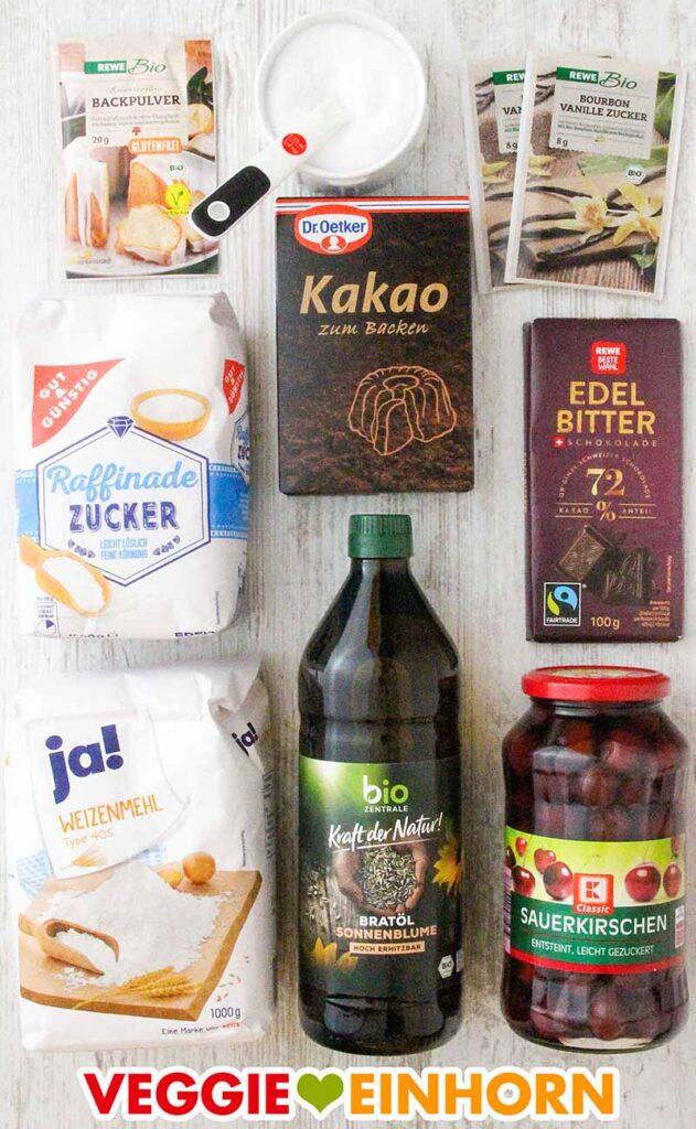 Verwendete Produkte für den Schoko-Kirsch-Kuchen