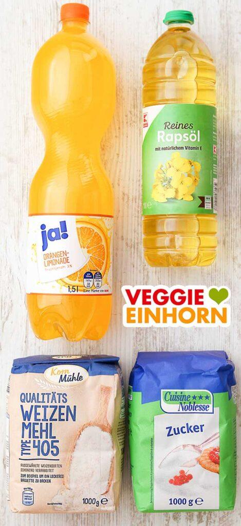 Orangenlimonade, neutrales Rapsöl, Weizenmehl Type 405, Zucker