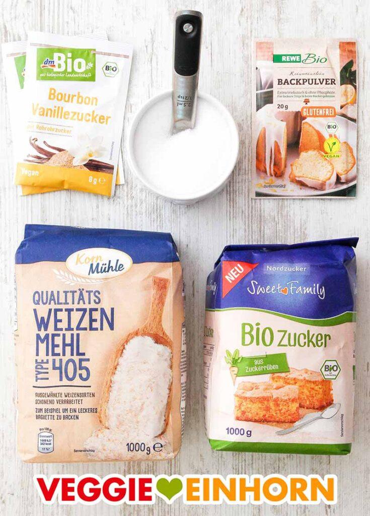 Verwendete Produkte für veganen Rührkuchen