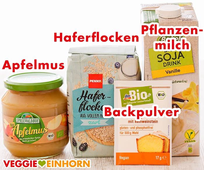 Apfelmus, Haferflocken, Backpulver und Pflanzenmilch