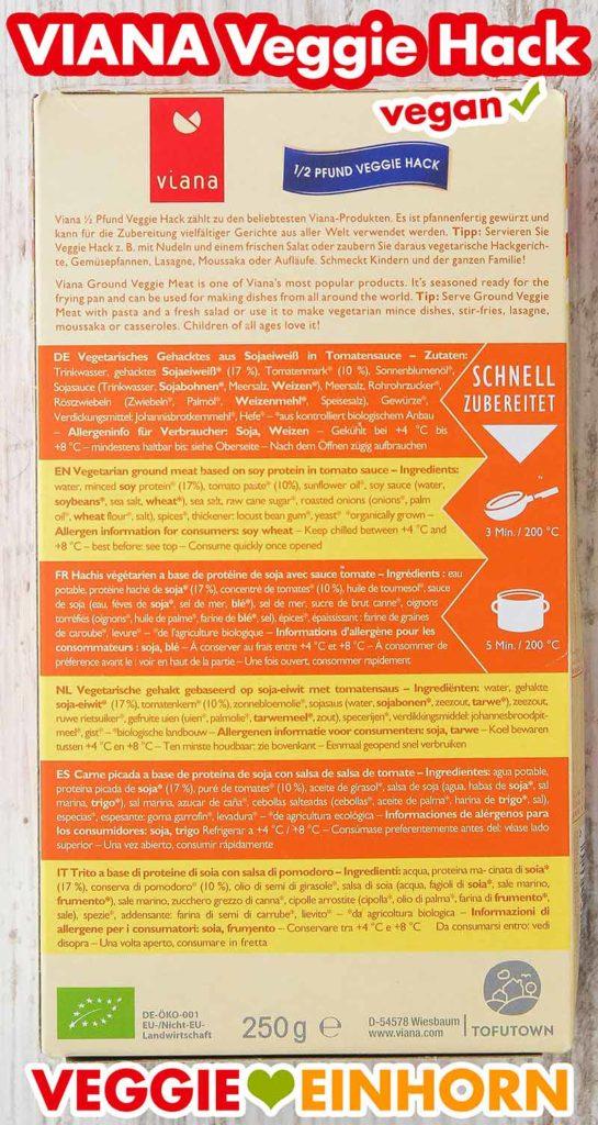 Rückseite der Verpackung von Viana Veggie Hack