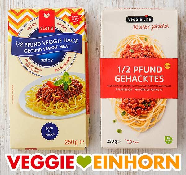 Zwei Packungen veganes Hackfleisch von Viana und von Veggie Life