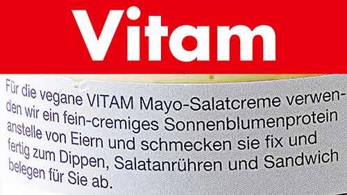 Text von der Packung Vitam vegane Mayonnaise
