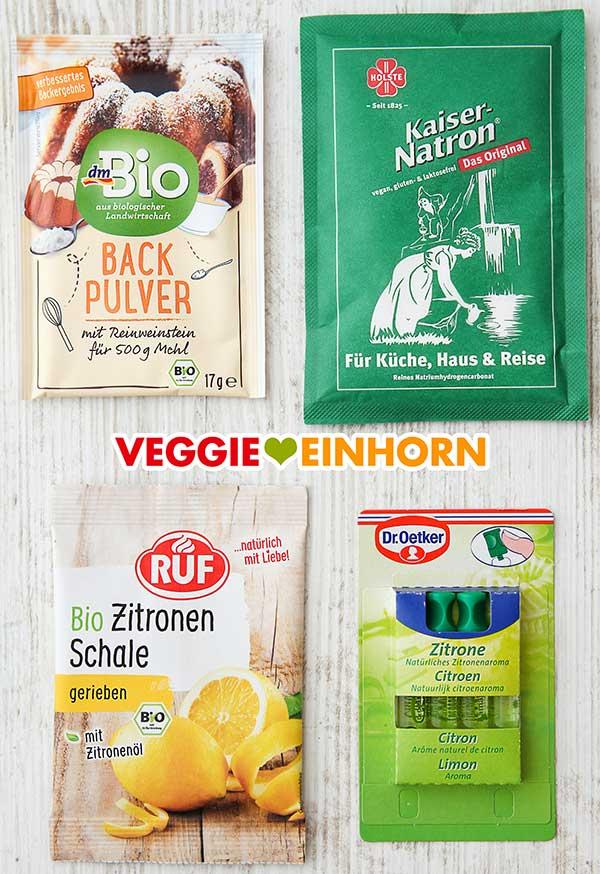 Weinsteinbackpulver, Kaiser Natron, abgeriebene Zitronenschale und Zitronenaroma