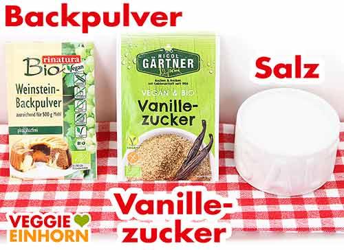 Weinsteinbackpulver, Vanillezucker und Salz